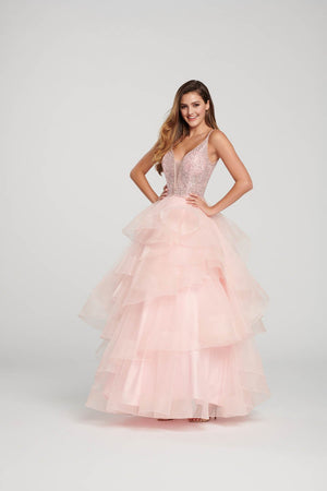 Ellie Wilde EW119100 prom dress images.  Ellie Wilde EW119100 is available in these colors: Pale Pink, Magenta, Black, Red.