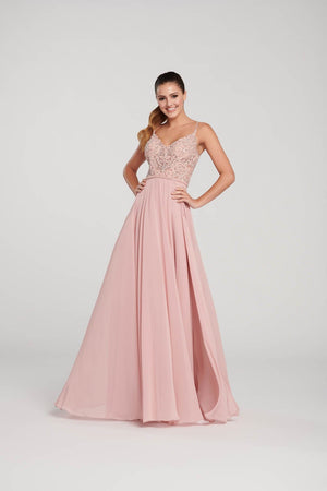 Ellie Wilde EW119132 prom dress images.  Ellie Wilde EW119132 is available in these colors: Dusty Rose, Red, Navy Blue.