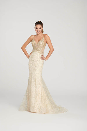 Ellie Wilde EW119173 prom dress images.  Ellie Wilde EW119173 is available in these colors: Red, Champagne, Black.