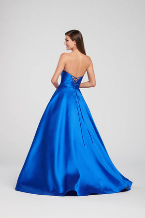Ellie Wilde EW119186 prom dress images.  Ellie Wilde EW119186 is available in these colors: Red, Light Yellow, Royal Blue, Navy Blue.