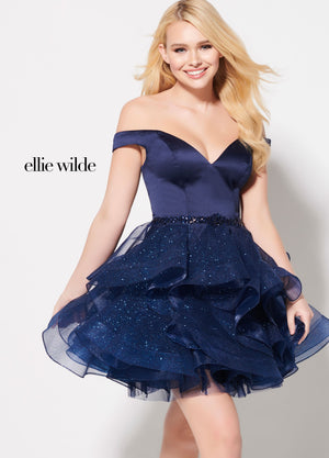 Ellie Wilde EW21901S prom dress images.  Ellie Wilde EW21901S is available in these colors: Dark Red, Navy Blue.