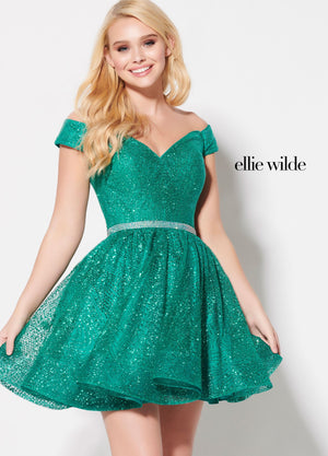 Ellie Wilde EW21904S prom dress images.  Ellie Wilde EW21904S is available in these colors: Red, Emerald, Ocean Blue, Rose Gold.