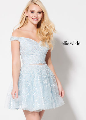 Ellie Wilde EW21905S prom dress images.  Ellie Wilde EW21905S is available in these colors: Royal Blue, Light Blue, Lilac, Emerald.
