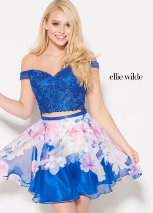 Ellie Wilde EW21907S prom dress images.  Ellie Wilde EW21907S is available in these colors: Royal Blue, Lilac, Light Fuchsia.