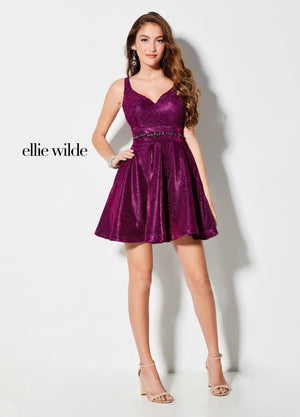 Ellie Wilde EW21908S prom dress images.  Ellie Wilde EW21908S is available in these colors: Magenta, Royal Blue, Platinum, Aqua.