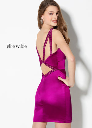 Ellie Wilde EW21910S prom dress images.  Ellie Wilde EW21910S is available in these colors: Magenta, Emerald, Sapphire.