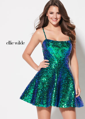 Ellie Wilde EW21912S prom dress images.  Ellie Wilde EW21912S is available in these colors: Pink, Emerald, Magenta.