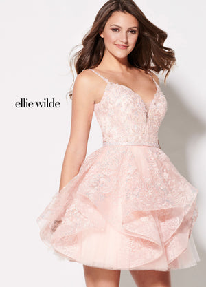 Ellie Wilde EW21916S prom dress images.  Ellie Wilde EW21916S is available in these colors: Periwinkle, Pink, Purple, Royal Blue.