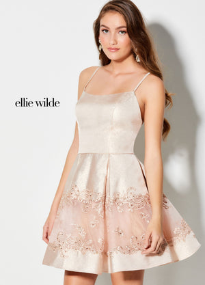 Ellie Wilde EW21917S prom dress images.  Ellie Wilde EW21917S is available in these colors: Light Gold, Bronze, Rose Gold.
