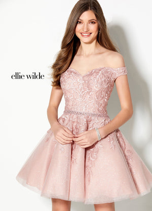 Ellie Wilde EW21920S prom dress images.  Ellie Wilde EW21920S is available in these colors: Blue Silver, Rose Quartz.