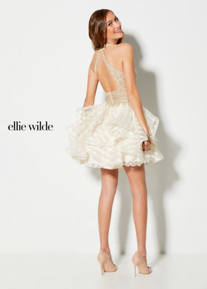 Ellie Wilde EW21923S prom dress images.  Ellie Wilde EW21923S is available in these colors: Light Gold Ivory.