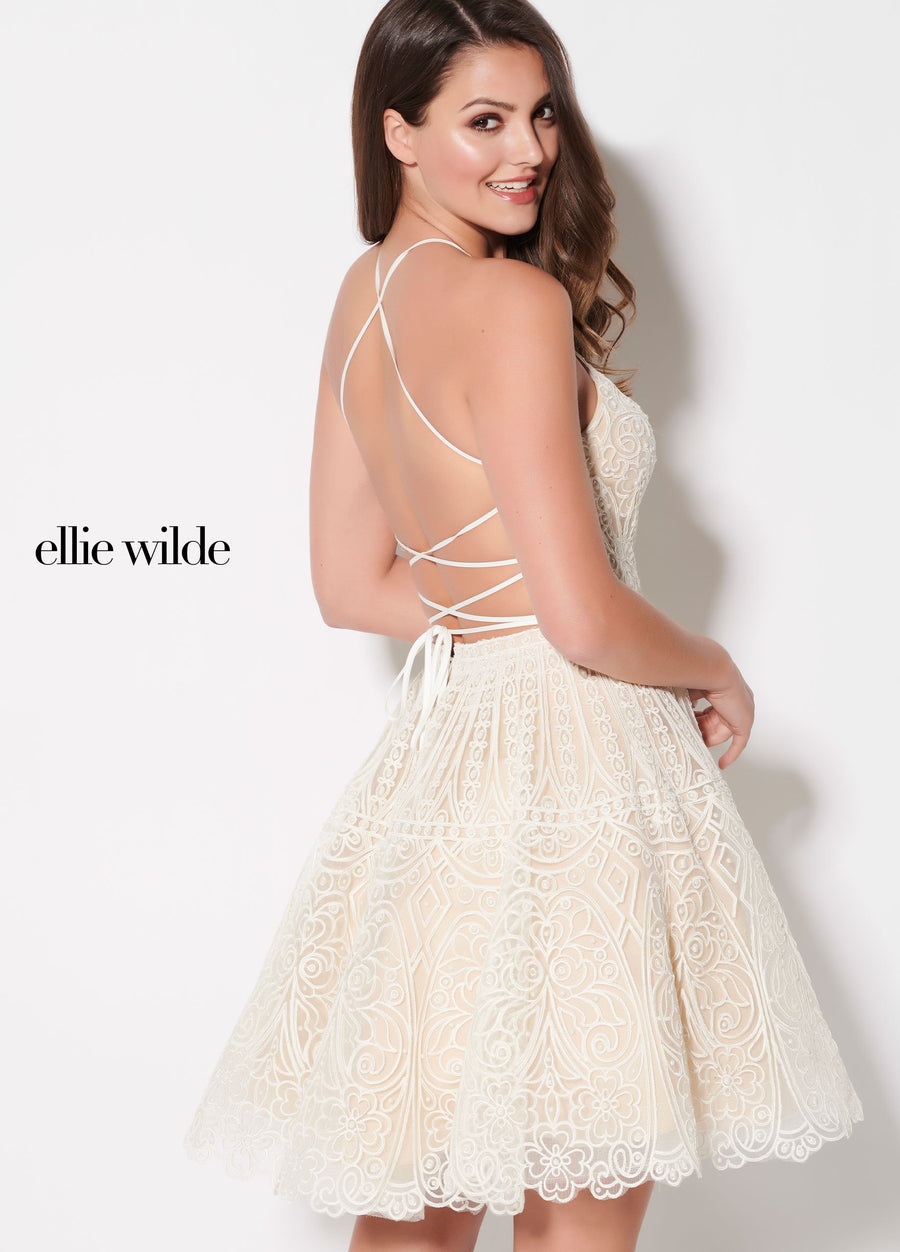 Ellie Wilde EW21924S prom dress images.  Ellie Wilde EW21924S is available in these colors: Ivory Champagne.