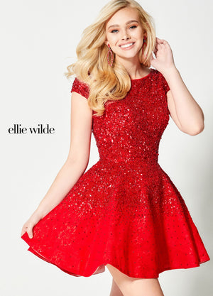 Ellie Wilde EW21925S prom dress images.  Ellie Wilde EW21925S is available in these colors: Red, Gold Silver.