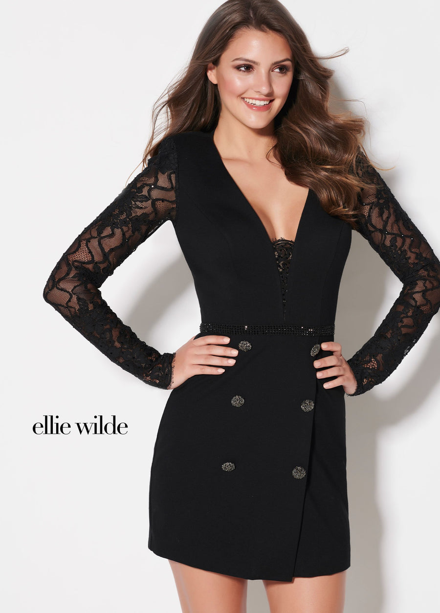 Ellie Wilde EW21926S prom dress images.  Ellie Wilde EW21926S is available in these colors: Black.