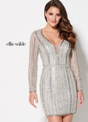 Ellie Wilde EW21928S prom dress images.  Ellie Wilde EW21928S is available in these colors: Silver, Rose Gold.
