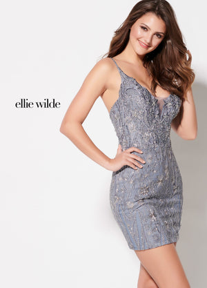 Ellie Wilde EW21929S prom dress images.  Ellie Wilde EW21929S is available in these colors: Slate.