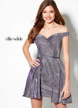 Ellie Wilde EW21930S prom dress images.  Ellie Wilde EW21930S is available in these colors: Heather, Magenta, Turquoise Royal Blue.