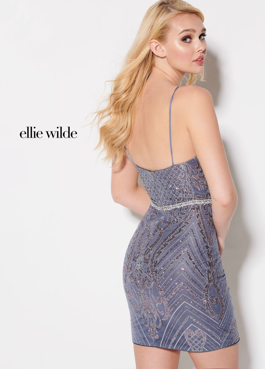 Ellie Wilde EW21931S prom dress images.  Ellie Wilde EW21931S is available in these colors: Cream Silver, Peach Rose Gold, Heather.