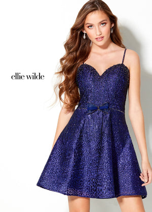 Ellie Wilde EW21932S prom dress images.  Ellie Wilde EW21932S is available in these colors: Sapphire.