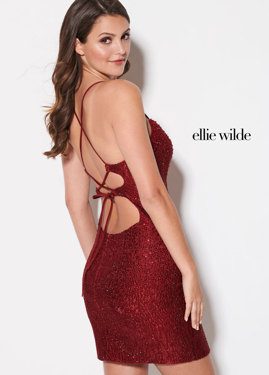 Ellie Wilde EW21933S prom dress images.  Ellie Wilde EW21933S is available in these colors: Sapphire, Champagne, Wine.