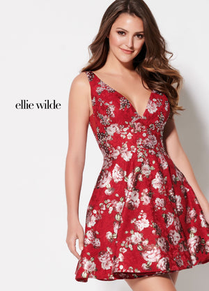 Ellie Wilde EW21934S prom dress images.  Ellie Wilde EW21934S is available in these colors: Dark Red Multi.