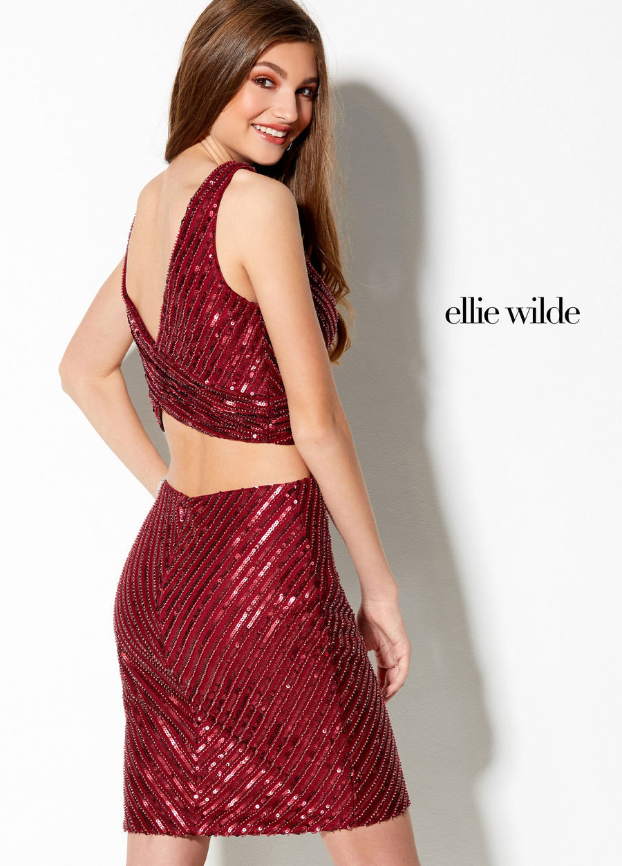 Ellie Wilde EW21935S prom dress images.  Ellie Wilde EW21935S is available in these colors: Wine, Black.