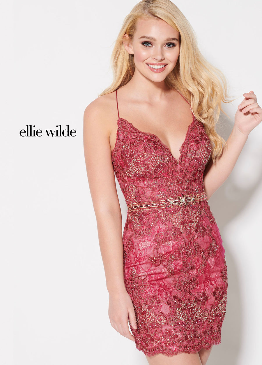 Ellie Wilde EW21936S prom dress images.  Ellie Wilde EW21936S is available in these colors: Cranberry, Navy Blue, Emerald.