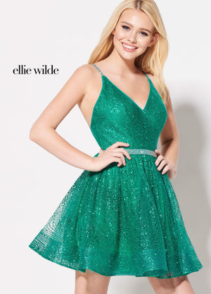 Ellie Wilde EW21937S prom dress images.  Ellie Wilde EW21937S is available in these colors: Red, Emerald, Rose Gold.