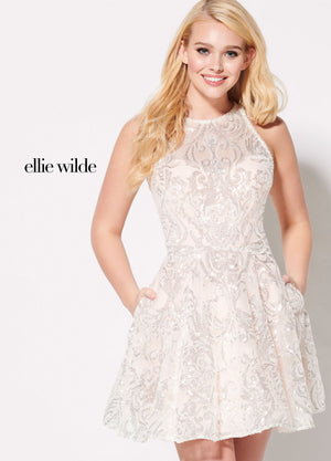 Ellie Wilde EW21938S prom dress images.  Ellie Wilde EW21938S is available in these colors: Ivory Petal, Ivory Eggshell, Ivory Blue.