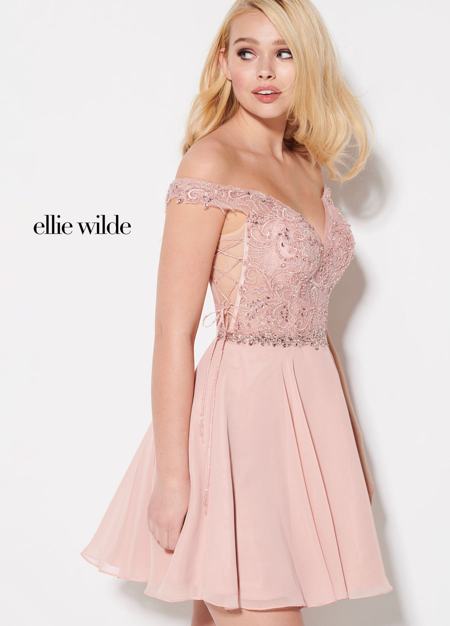 Ellie Wilde EW21939S prom dress images.  Ellie Wilde EW21939S is available in these colors: Rose Quartz, Fuchsia.