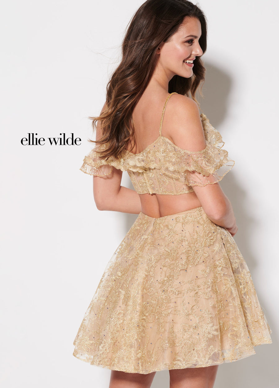 Ellie Wilde EW21940S prom dress images.  Ellie Wilde EW21940S is available in these colors: Gold.