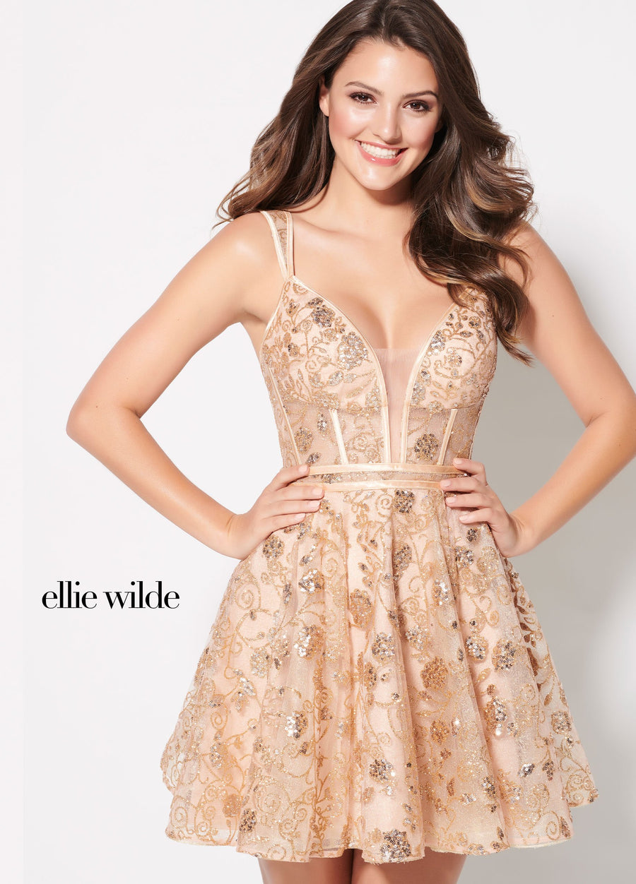 Ellie Wilde EW21941S prom dress images.  Ellie Wilde EW21941S is available in these colors: Rose Gold.