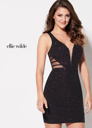 Ellie Wilde EW21942S prom dress images.  Ellie Wilde EW21942S is available in these colors: Navy Blue, Blackberry, Red.