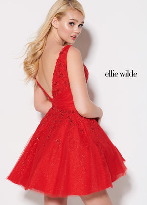 Ellie Wilde EW21945S prom dress images.  Ellie Wilde EW21945S is available in these colors: Red, Pink.