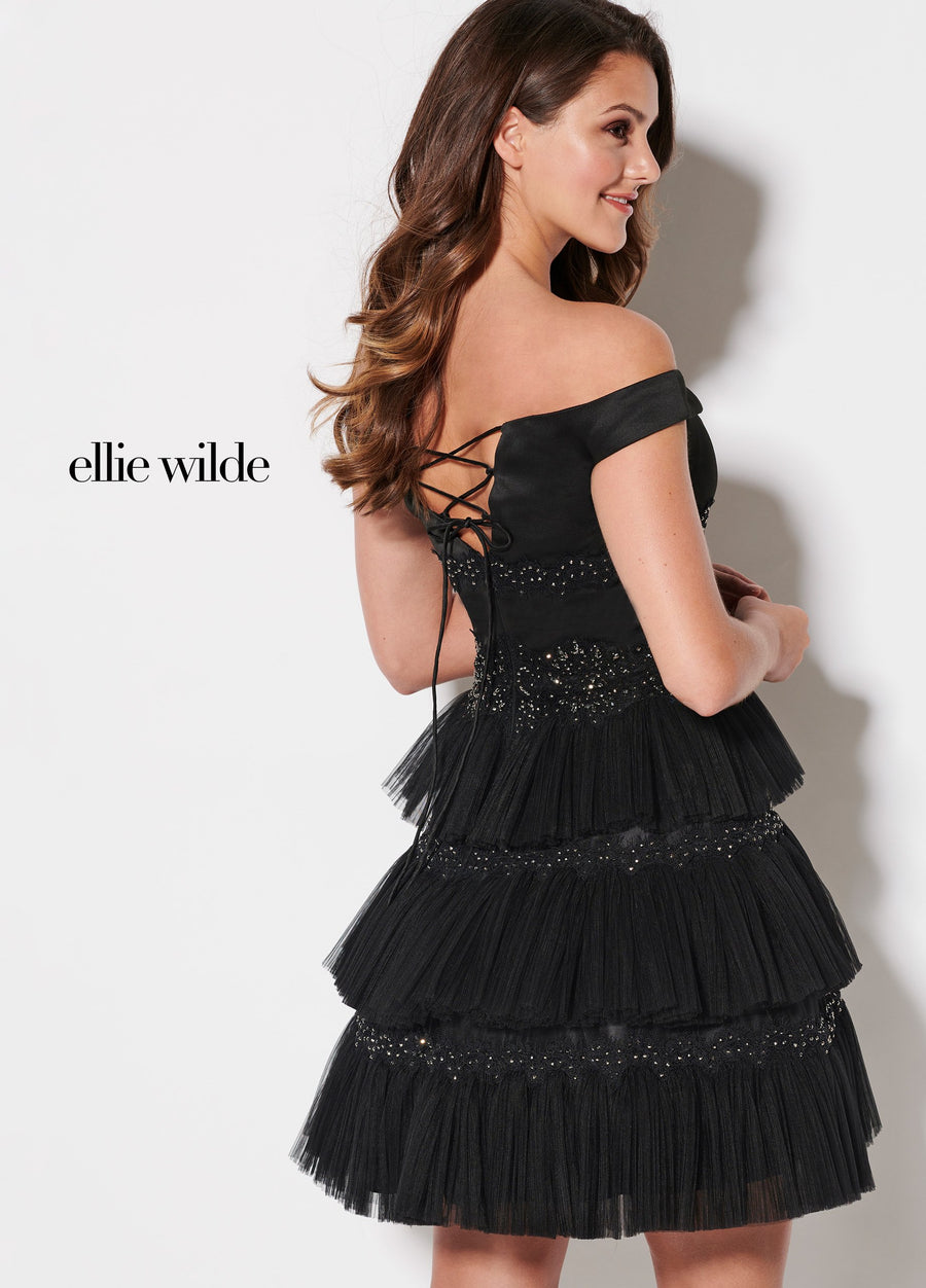 Ellie Wilde EW21946S prom dress images.  Ellie Wilde EW21946S is available in these colors: Black.