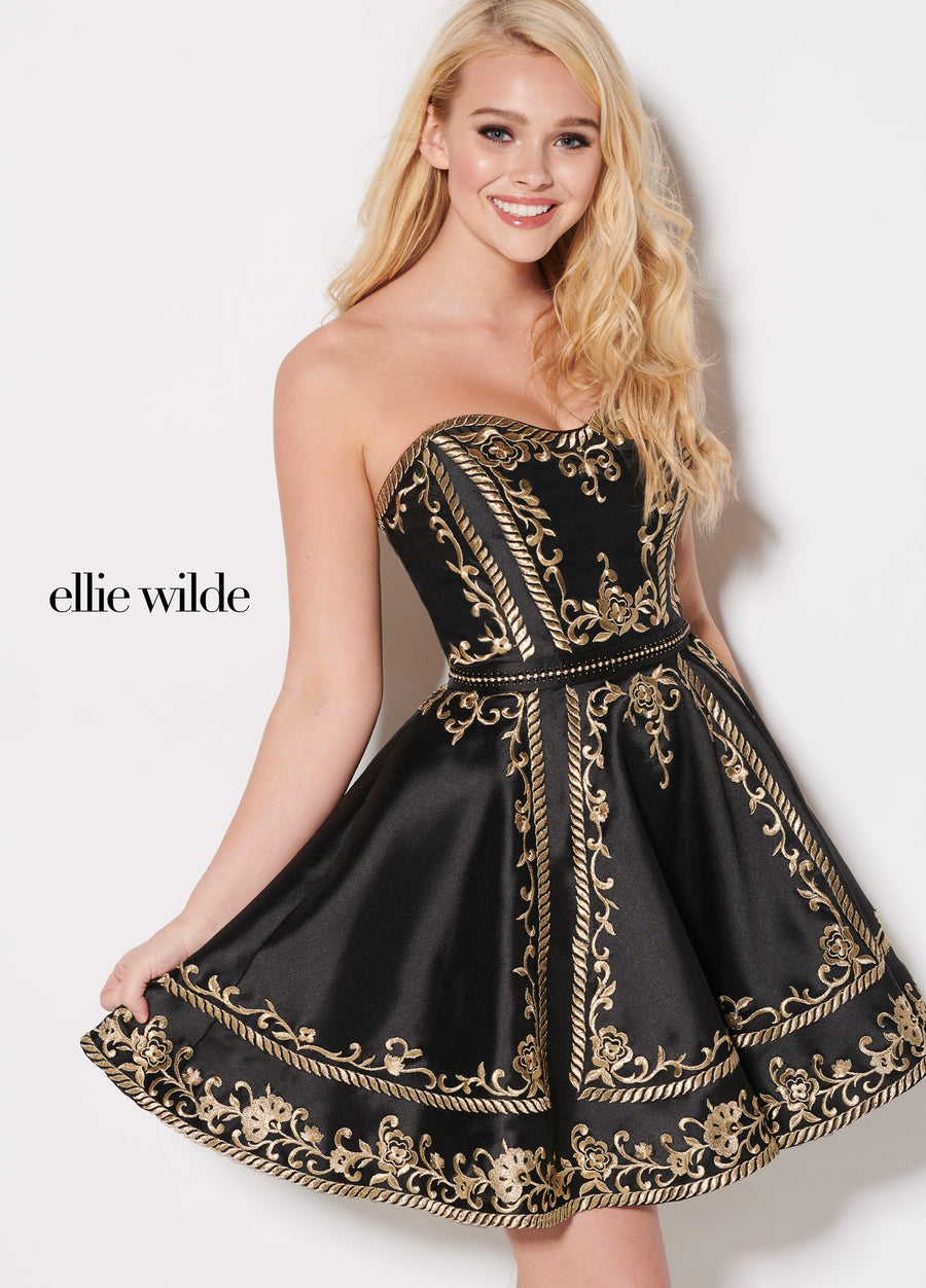 Ellie Wilde EW21948S prom dress images.  Ellie Wilde EW21948S is available in these colors: Black Gold.