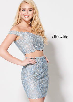 Ellie Wilde EW21949S prom dress images.  Ellie Wilde EW21949S is available in these colors: Pale Blue Multi.