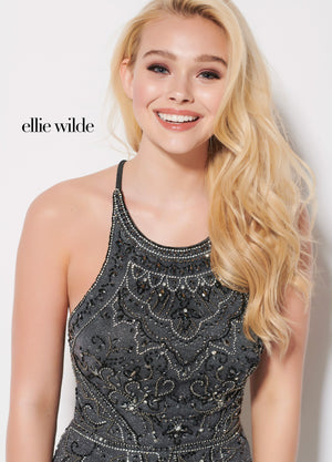 Ellie Wilde EW21952S prom dress images.  Ellie Wilde EW21952S is available in these colors: Gunmetal.