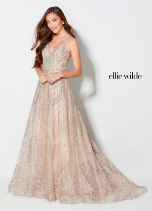 Ellie Wilde EW21953 prom dress images.  Ellie Wilde EW21953 is available in these colors: Heather, Champagne.