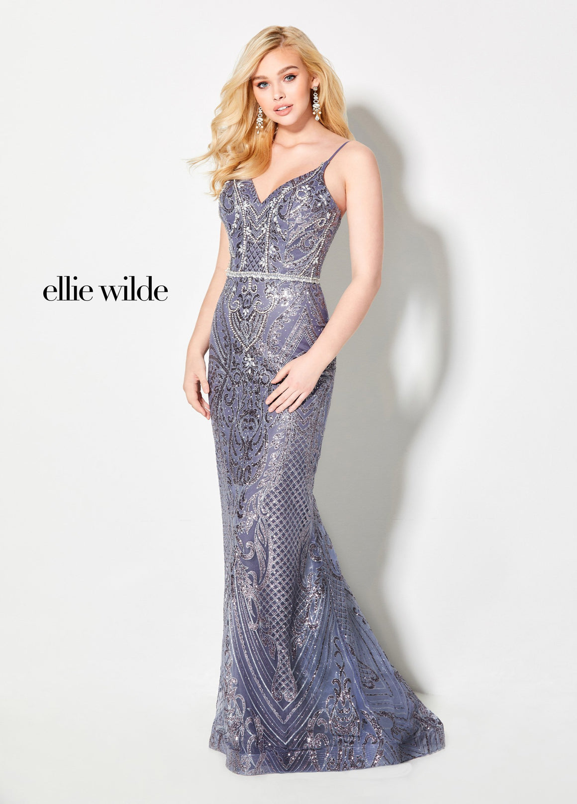 Ellie Wilde EW21954 prom dress images.  Ellie Wilde EW21954 is available in these colors: Ocean Blue, Heather.