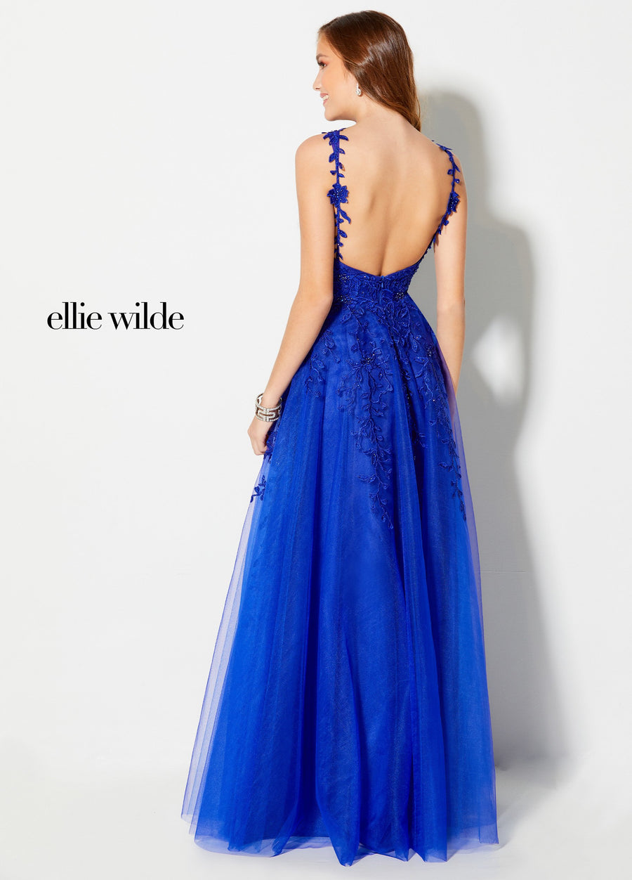 Ellie Wilde EW21955 prom dress images.  Ellie Wilde EW21955 is available in these colors: Royal Blue, Pink.