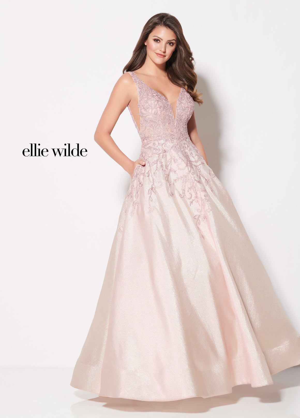 Ellie Wilde EW21956 prom dress images.  Ellie Wilde EW21956 is available in these colors: Pink Gold.