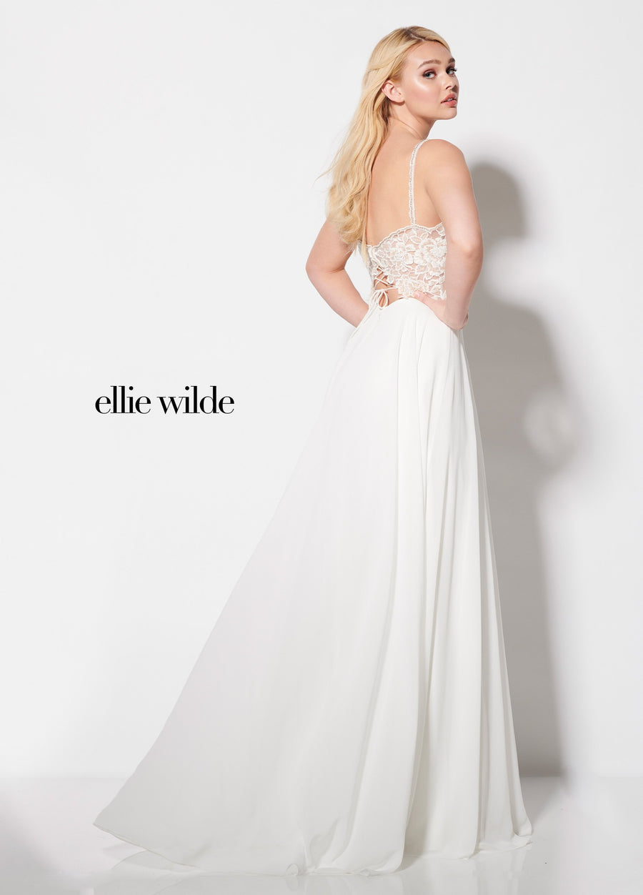 Ellie Wilde EW21958 prom dress images.  Ellie Wilde EW21958 is available in these colors: Ivory, Rose.