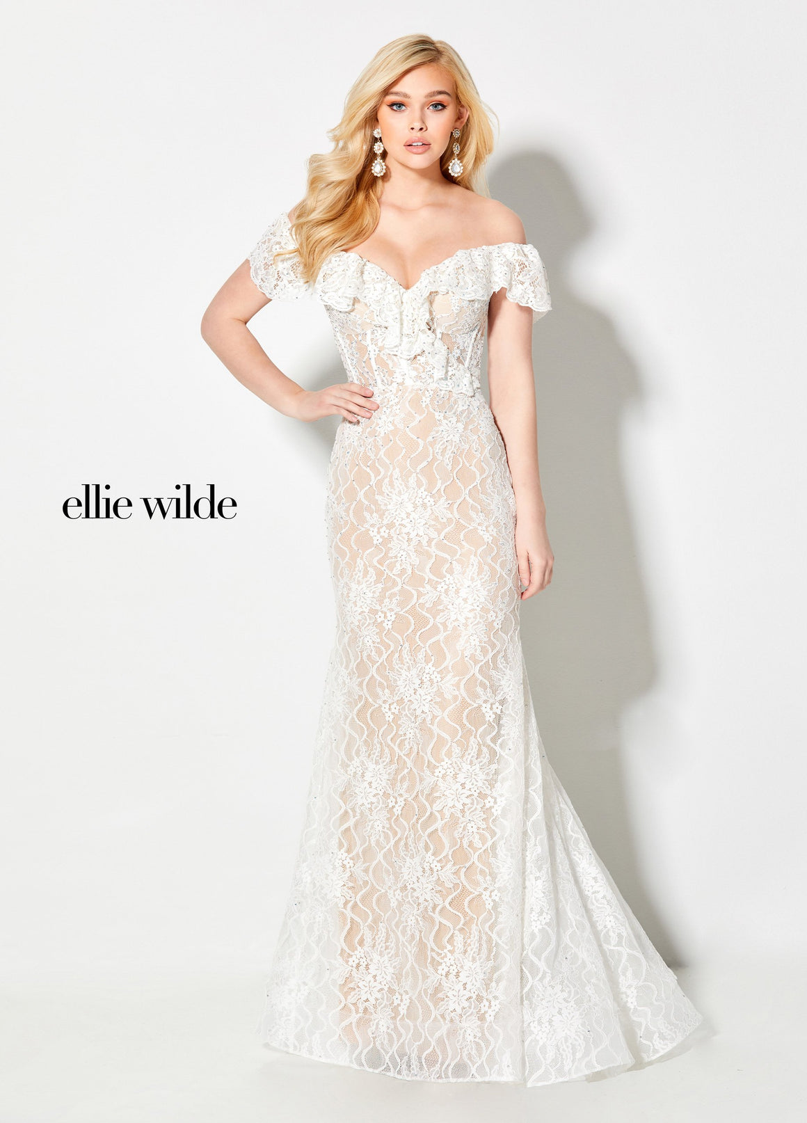 Ellie Wilde EW21959 prom dress images.  Ellie Wilde EW21959 is available in these colors: Ivory Nude.