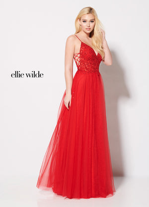 Ellie Wilde EW21960 prom dress images.  Ellie Wilde EW21960 is available in these colors: Sky Blue, Red.