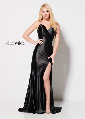 Ellie Wilde EW21962 prom dress images.  Ellie Wilde EW21962 is available in these colors: Magenta, Black, Red.