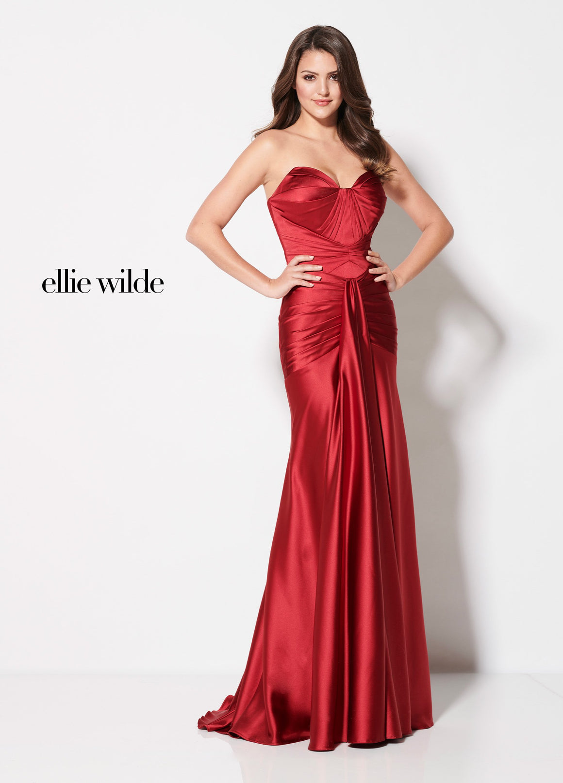Ellie Wilde EW21964 prom dress images.  Ellie Wilde EW21964 is available in these colors: Dark Red.