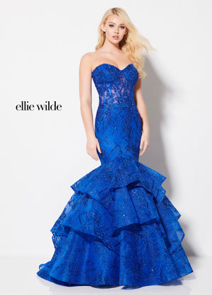 Ellie Wilde EW21965 prom dress images.  Ellie Wilde EW21965 is available in these colors: Royal Blue.