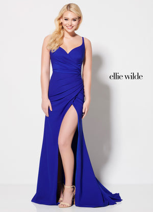 Ellie Wilde EW21966 prom dress images.  Ellie Wilde EW21966 is available in these colors: Royal Blue, Black.