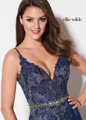 Ellie Wilde EW21967 prom dress images.  Ellie Wilde EW21967 is available in these colors: Red, Burgundy, Navy Blue.